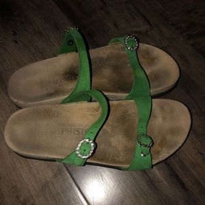 Mephisto Green Leather Sandals
